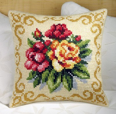 Spring Flowers Cushion Front Chunky Cross Stitch Kit