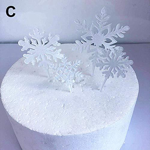 strimusimak 4pcs Weihnachten Schneeflocke Cake Topper Stick Dessert Cupcake Ornament Für Xmas Party Weiß Mit Griffen