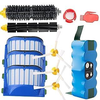efluky 4.0 Ah Ersatzakku für iRobot Roomba+Ersetzen Bürsten Kit-Teile Zubehör für iRobot Roomba 600 601 610 616 620 625 630 631 650 651 653 655 660 680 Serie -ein Satz von 11