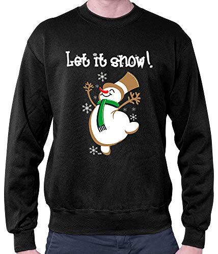 HARIZ Herren Pullover Let It Snow Weihnachten Weihnachts Schnee Liebe Inkl. Geschenk Karte Schwarz XXL