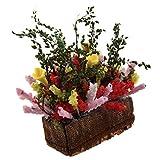 SODIAL(R) Arbusto flor multicolor con pote de madera miniatura casa de munecas 1/12