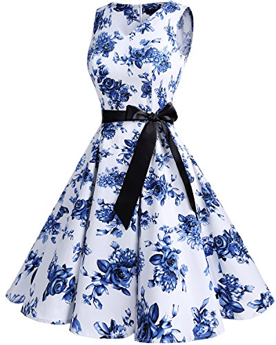 Bridesmay Damen Vintage 1950er Rockabilly Ärmellos Retro Cocktailkleid Partykleid White Blue Flower
