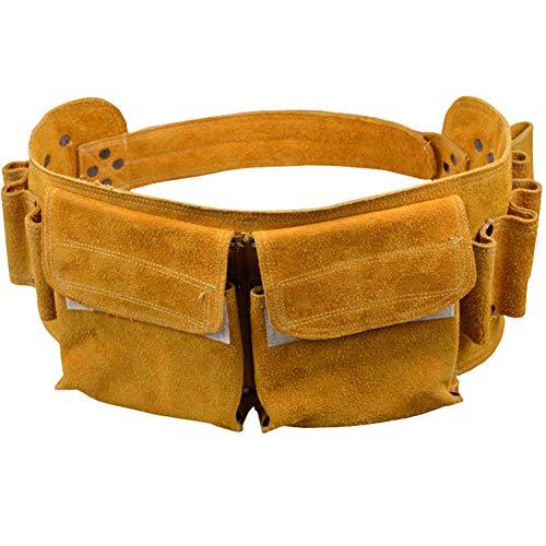 Werkzeuggürtel Arbeit für Bag Men Tools Leder Heavy Duty Tasche 9 Stahl Hammer Loops, 2 Taschen Multifunktionale Rindsleder Garten- und Zimmermannsreparatur - Tasche Wildleder Leder Nagel