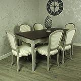Grande gris mesa de comedor con 6acolchado silla de comedor–gris francés gama