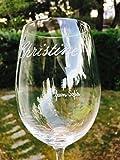 Copa de Vino personalizada con el nombre grabado a mano con punta de diamante. NO SE HACE SON LÁSER, por eso no se borra nunca. Haz el pedido y envía el nombre por mail. ESTÁN GUSTANDO MUCHO ¡
