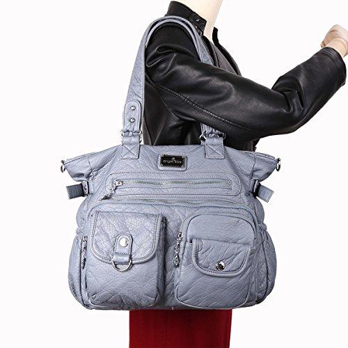 Angelkiss 2 strati multi tasche Borse lavato dell'unità di elaborazione borse in pelle borse a spalla XS160500 Azzurro