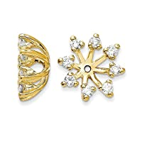 14ct Yellow Gold Polished Diamond Earrings jacket Jewelry Gifts for Women