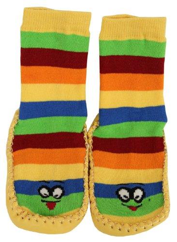 Tobeni 1 Paar Hüttenschuhe Socken Hausschuhe mit Ledersohle und Ringel für Kinder Farbe Gelb Grösse 30-31 (Tier-hausschuhe Große)