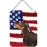 "Caroline's Treasures Black And Tan Dachshund Patriotic Metal Print, 16"" X 12"", Multicolor"