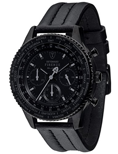 Detomaso Firenze Black – Reloj de cuarzo para hombres, con correa de cuero de color negro, esfera negra