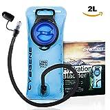 Sacca idratazione portatile, CybGene 2L sacca del' acqua con apertura larga anti perdita & tubo Isolato per bere con copertura. Insapore, adatta a escursionismo, campeggio,bicicletta e arrampicata.(Blu)