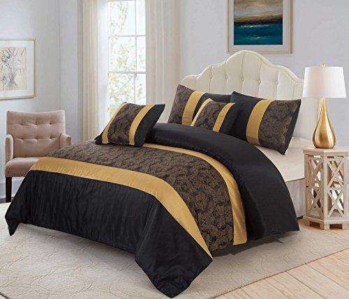 3Stück Jacquard Gesteppte Tagesdecke Tröster, kissenrollen, Luxus Kunstseide Bett, Set + FREE P & P, schwarz / gold, King Size (Luxus-king-kissenbezug)