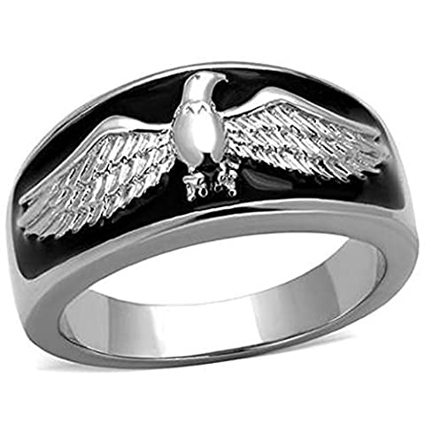 Beydodo Stainless Steel Ring For Women Men's Ring Polish Eagle Shaped Punk Style Width 11MM Silver Black