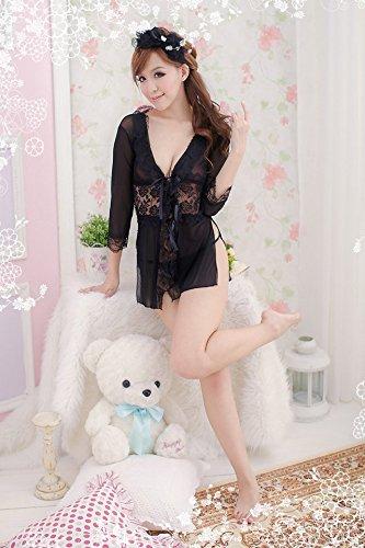 Shangrui Femmes Deep V-cou et Haute Fente Underwear Pyjamas Backless Lace Perspective Racy Lingerie W183 Noir