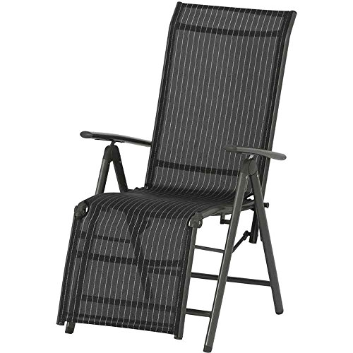 Siena Garden 733158 Relaxsessel Delphi, Aluminiumgestell anthrazit, Ranotex-Textilfaser schwarz / silber, 57 x 68 x 114 cm