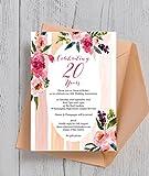 personalisierbar bemalt Pfingstrosen Hochzeitstag Einladungen mit Umschlägen (10Stück)