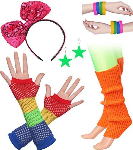 Jahre Zubehör 1980s Disco Party Kostüm Outfit Zubehör Set inklusive Stirnband Ohrringe Armbänder Beinlinge Fischnetz Handschuhe (Set-5) (Disco Ohrringe)