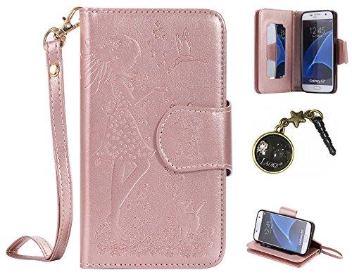 PU Coque Samsung Galaxy S7 ,PU Cuir Portefeuille Etui Housse Case Cover portefeuille,carte de crédit Fentes pour (9 fente) ,idéal pour protéger votre téléphone + Bouchons de poussière (9VB)