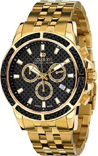 LOUIS XVI Herren-Armbanduhr Majesté Stahlband Gold Schwarz Karbon Chronograph Analog Quarz Edelstahl 480