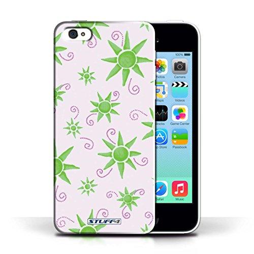 iCHOOSE Print Motif Coque de protection Case / Plastique manchon de telephone Coque pour Apple iPhone 5C / Collection Motif Soleil / Jaune/Blanc Vert/Blanc