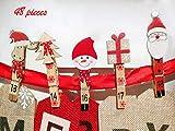 Valery Madelyn 8.5-10cm Holzklammern Adventskalender Weihnachtsdeko 24 Stücke 2 Set Adventskalenderzahlen 1 bis 24 zum DIY Weihnachtskalender Lieber Weihnachtsmann Thema basteln Mini Dekoklammern