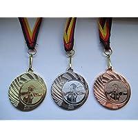 Bogenschießen Kids Medaillen 3er Set Deutschland-Bändern Pokal Turnier Schützen Pokale & Preise