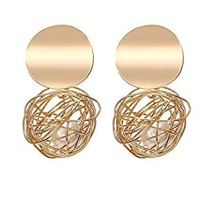 Jewels Galaxy Contemporary Brass and Crystal Drop Earrings for Women & Girls
