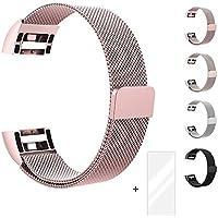 Fun Sponsor Fitbit Charge 2 Cinturino, Chiusura Magnetica Milanese Loop in Acciaio inox Cinturino Bracciale per Fitbit Charge 2 Oro rosa + Bonus Pellicola Protettiva