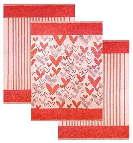 Lashuma Küchenset Baumwolltücher | Wischtücher Herzmotiv Rot | 3er Pack Geschirrhandtücher 70 x 50 cm (Geschirrtuch Rot)
