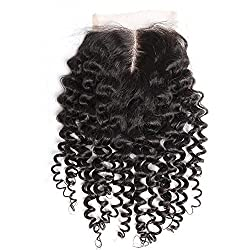 Greatremy 4x4 Deep Curly Lace Closure Middle Part 18 Brazilian Virgin Human Hair Bleached Knots Natural Color