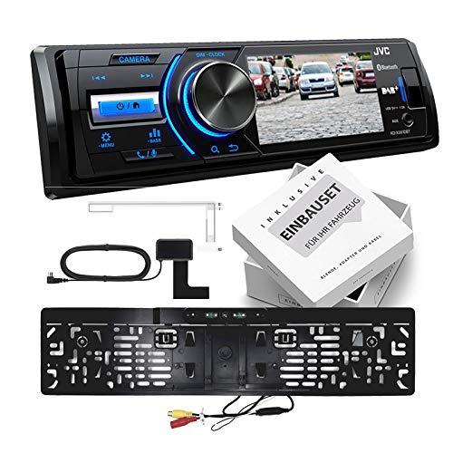JVC KD-X561DBT 1-DIN DAB Media Receiver Farbdisplay inkl Kennzeichen Rückfahrkamera für Jeep Grand Cherokee (WH Facelift) 2007-2010 schwarz