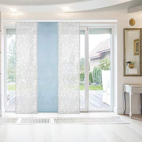 Bestlivings Flächenvorhang Elena 3er Pack Ausbrenner 60 x 260 cm (B x H) in Weiß-Hellblau inkl. Zubehör, ausgebrannte Motive Schiebevorhang, in vielen Farben