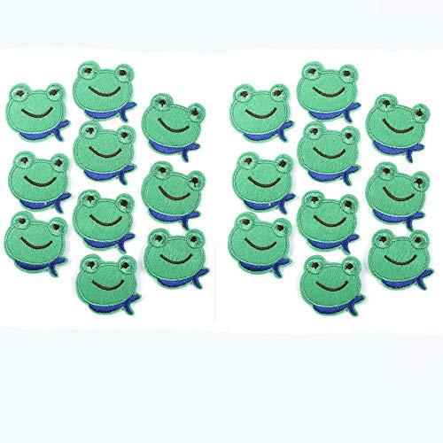 ANNIUP 20 Stück kleine Stoff-Aufkleber Applikation Stickerei Patches DIY Kleidung dekoriert Nähen für Basteln Reparatur Patch für Kinder süßes Frosch Muster Dekor