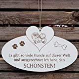 SCHILD Dekoschild mit Herz « Schönster HUND der WELT - TIBET-SPANIEL » ca. 20 x 12 cm - mit Motiv und Spruch - Shabby Vintage Holzschild Türschild - Tibetan spaniel