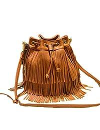 Di Grazia Women's Fringe Tassel Bucket Shoulder Sling Handbag (Brown, Brown-Fringe-Tassel-Bucket-Slingbag)