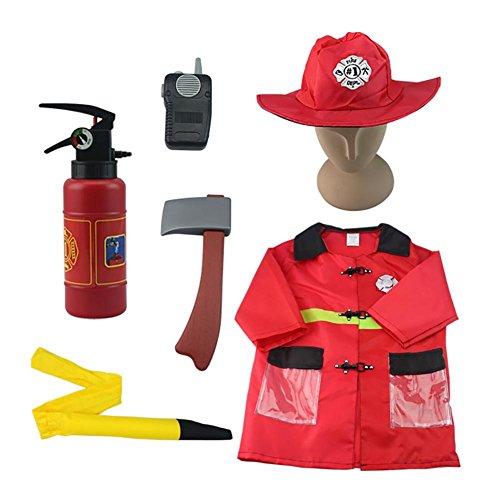 BENHAI 1PCs Feuerwehrmann scherzt Halloween Cosplay Kostüm-Abendkleid Cosplay Junge nette Partei-Mädchen-Fotografie-Kleidung-Feuerwehrmann-Cosplay Kleidung