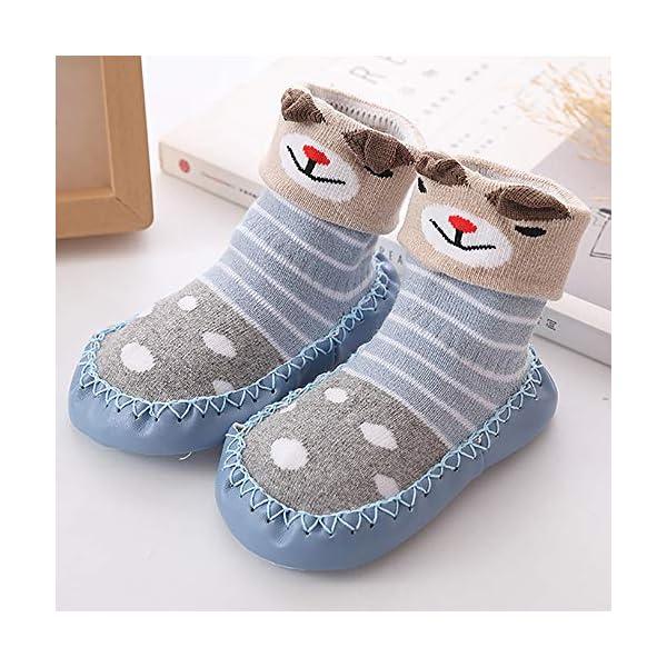 MAYOGO Niños Calcetines Antideslizantes con Suela de Goma Anti-slip Zapatos de Primer Paso para Bebés Zapatillas de Casa… 3