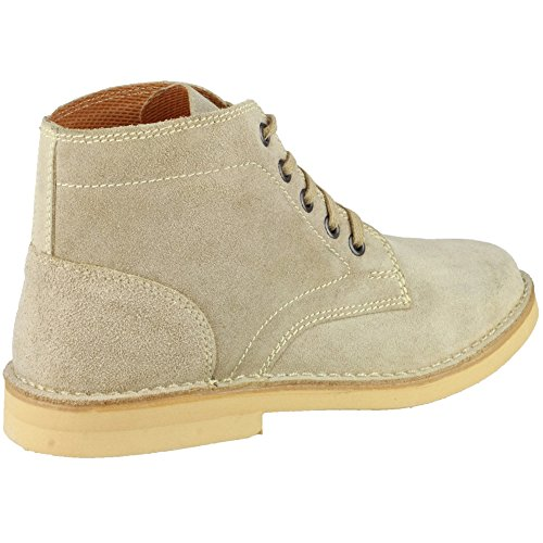 Amblers Mens Desert Lace Suede Fabric Lined Leather Boot Brown Gris