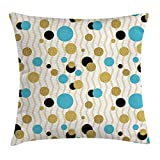 Kissenbezüge Abstract Throw Pillow Cushion Cover, Trippy Geometric Circles Dotted Gold Rounds on Zig Zag Lines Background Artwork Print, Decorative Square Accent Pillow Case, 18 X 18 Inches, Aqua