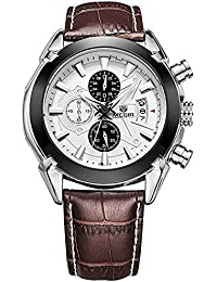 Fashion Army analógico cronógrafo luminoso piel marrón Sport muñeca relojes de cuarzo con calendario para hombres m2020br