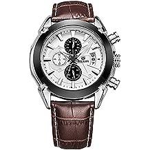 MEGIR M2020 Reloj de cuarzo para hombre esfera redonda deportivo cronógrafo reloj de pulsera (Marrón)