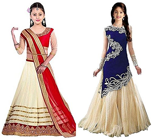 Market Magic World Girl's Cream & Blue Velvet, Net Semi Stitched Combo Pack lehenga Choli, Salwar Suit, Gown (Kids Wear_Free Size_8-12 Year age)  available at amazon for Rs.799