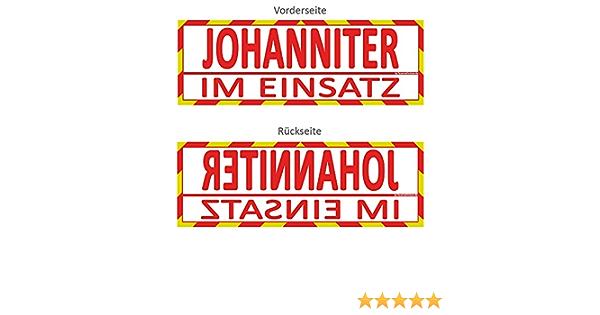 Feuerwehrstore Johanniter Im Einsatz Wendeschild Wsb2 Für Die Sonnenblende In Normal Spiegelschrift Johanniter Auto