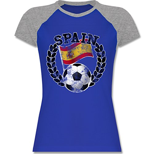 EM 2016 - Frankreich - Spain Flagge & Fußball Vintage - zweifarbiges Baseballshirt / Raglan T-Shirt für Damen Royalblau/Grau meliert