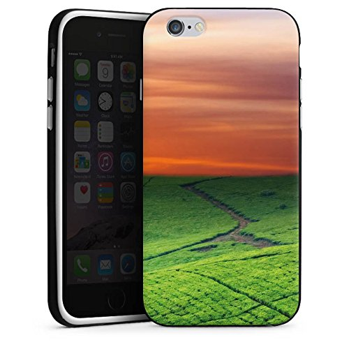 Apple iPhone 6 Housse Étui Silicone Coque Protection Paysage de prairies Coucher de soleil Irlande Housse en silicone noir / blanc