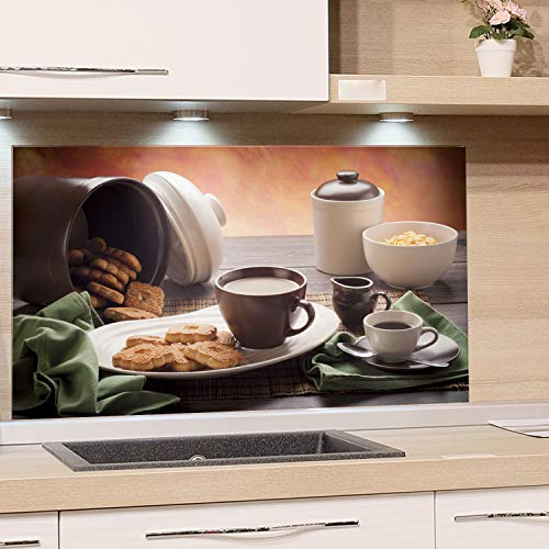 GRAZDesign Glasbilder Frühstück - Glaswand Küche Tisch mit Tasse Kekse Dose Schale - Küchenrückwand Glas Küchenbilder / 80x50cm -