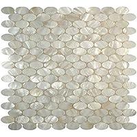 Tile 4 Sie Echte Weiß Oval Perlmutt Muschel Mosaik Für Küche Backsplash Pack  ...