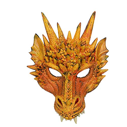 Mumie Weiblich Kostüm - JXQ-N 3D-Drachen-Maske aus Schaumlatex Halloween Maske Halloween-Karnevalsparty Dekoration Dragon Mythologie Fabelwesen Horror Requisiten (Gelb)