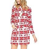 Aimado Damen Langarm Weihnachten Nachtkleid Stehkragen Drucken Flanell Schlafanzug Lounger House Nachtwäsche Kleid, Rot, Gr. XXL