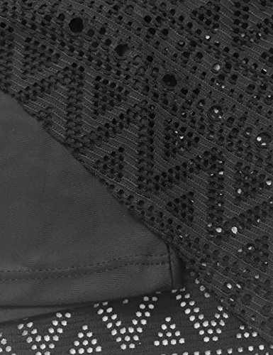 FLYILY Damen Streifen Tankini Sets Bikini Mesh Bademode Badeanzug Bademode Black